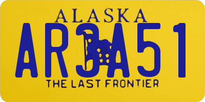 AK license plate AR3A51