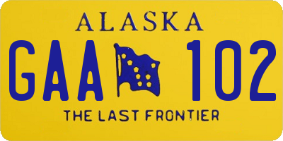 AK license plate GAA102