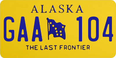 AK license plate GAA104
