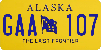 AK license plate GAA107