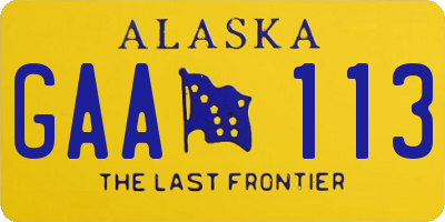 AK license plate GAA113