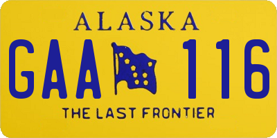AK license plate GAA116