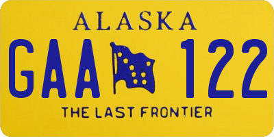 AK license plate GAA122