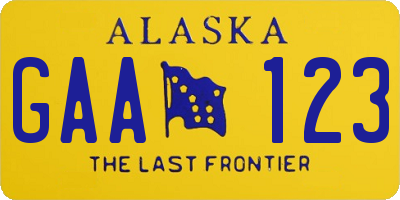 AK license plate GAA123