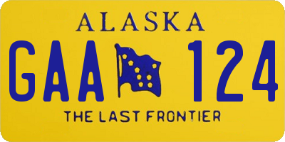 AK license plate GAA124