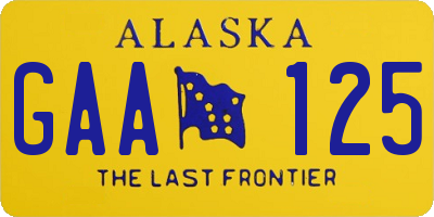 AK license plate GAA125
