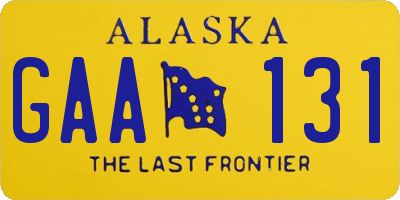 AK license plate GAA131
