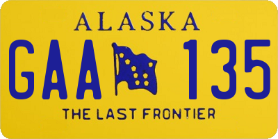 AK license plate GAA135