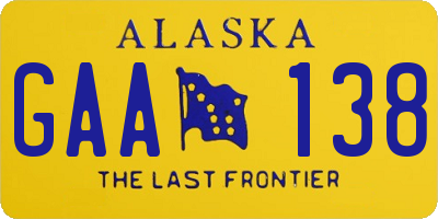 AK license plate GAA138