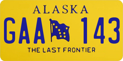 AK license plate GAA143