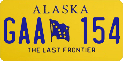 AK license plate GAA154