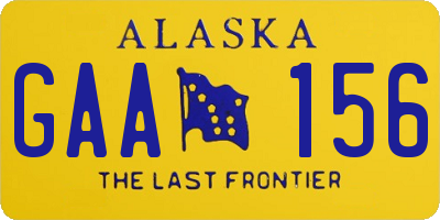 AK license plate GAA156