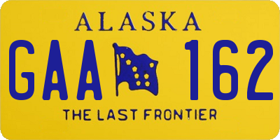 AK license plate GAA162