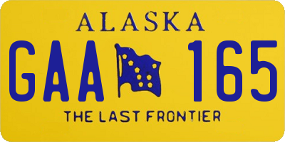 AK license plate GAA165