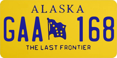 AK license plate GAA168