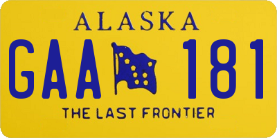 AK license plate GAA181