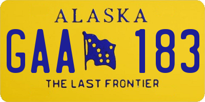 AK license plate GAA183