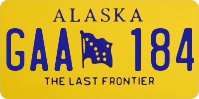 AK license plate GAA184