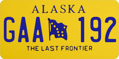 AK license plate GAA192