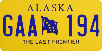 AK license plate GAA194