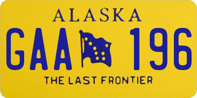 AK license plate GAA196