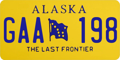 AK license plate GAA198