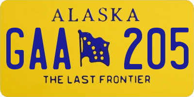 AK license plate GAA205