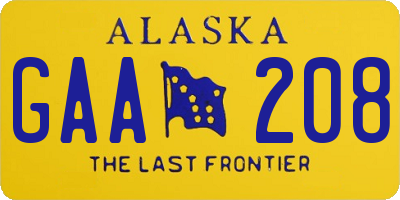 AK license plate GAA208