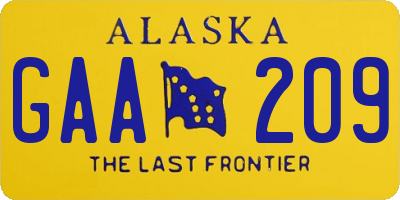 AK license plate GAA209