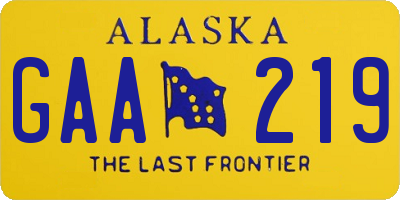 AK license plate GAA219