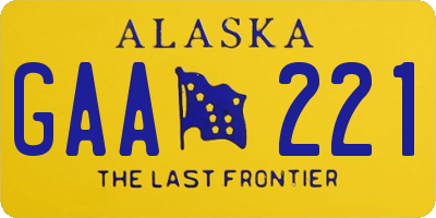 AK license plate GAA221