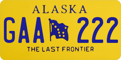 AK license plate GAA222