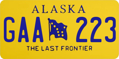 AK license plate GAA223