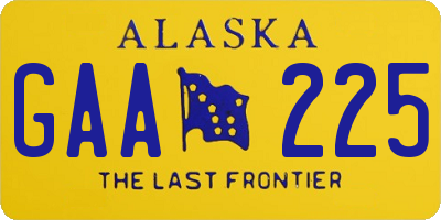 AK license plate GAA225