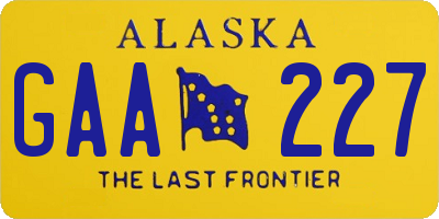 AK license plate GAA227