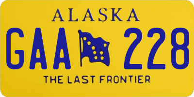 AK license plate GAA228
