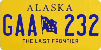 AK license plate GAA232