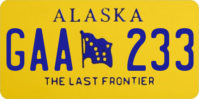 AK license plate GAA233