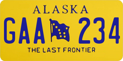 AK license plate GAA234