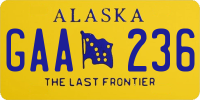 AK license plate GAA236