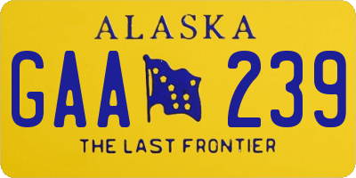 AK license plate GAA239