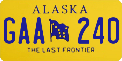 AK license plate GAA240
