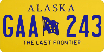 AK license plate GAA243