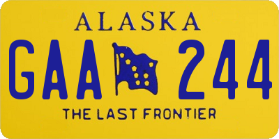 AK license plate GAA244