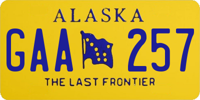 AK license plate GAA257