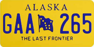 AK license plate GAA265