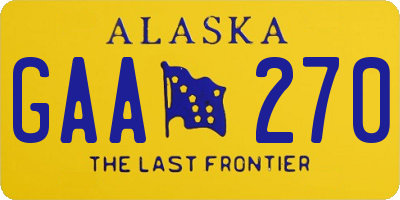 AK license plate GAA270