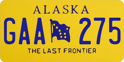AK license plate GAA275