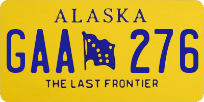 AK license plate GAA276