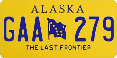 AK license plate GAA279